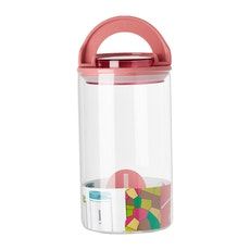 1.2L Glass Jar With Handle Lock Cover - Pink