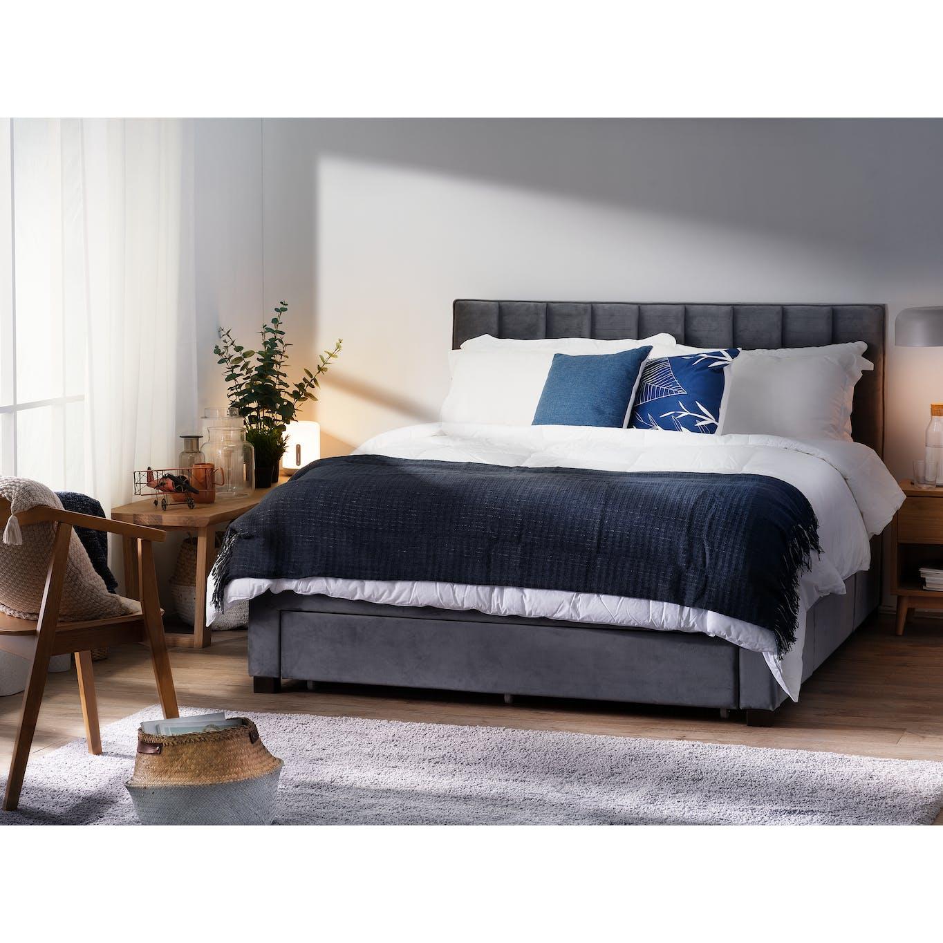 Moonstone velvet queen sized 3 drawer storage bed