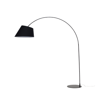 Long-Necked Floor Lamp - Matte Black (Fabric Shade) - Image 1