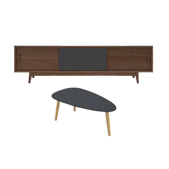 Emelie TV Console 1.6m in Walnut, Anthracite with Avery Coffee Table in Anthracite - 0