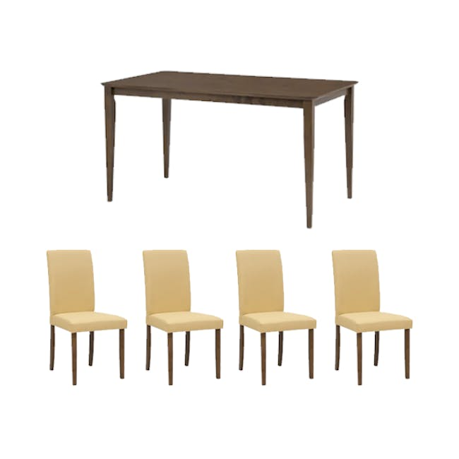 Charmant Dining Table 1.4m in Walnut with 4 Dahlia Dining Chairs in Caramel - 0