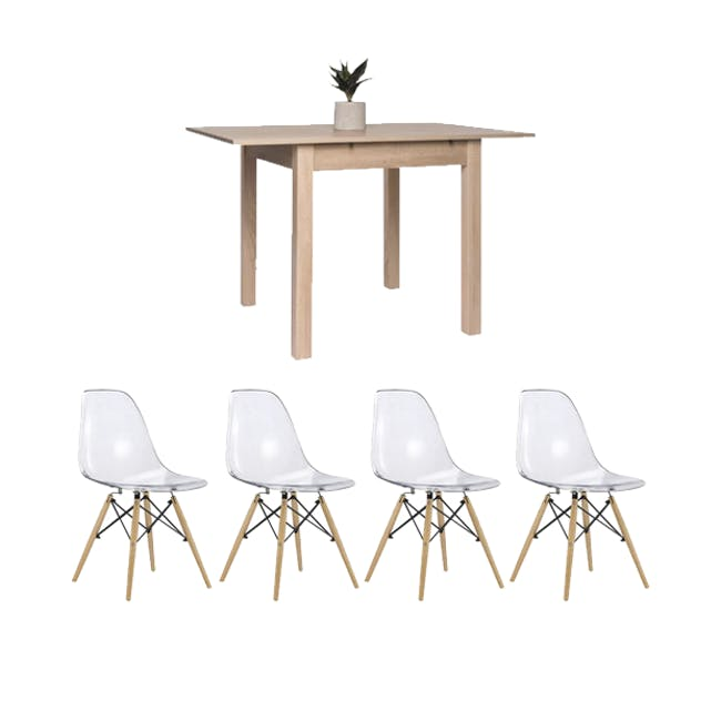 Jonah Extendable Table 0.8m in Oak with 2 DSW Chair Replica in Natural, Clear - 0