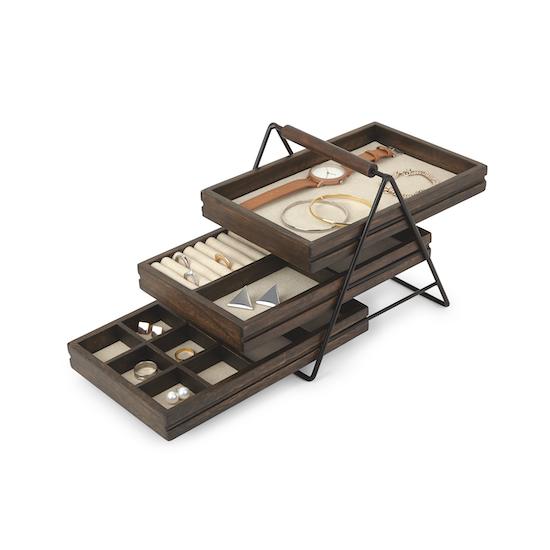 Umbra - Terrace Jewelry Tray - Black, Walnut