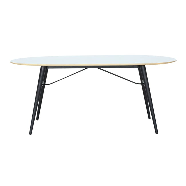 Fleming Oval Dining Table 1.8m - White, Black - 6