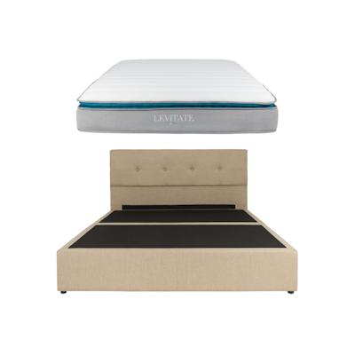 Maggie Headboard Bed w/ LEVITATE Mattress - Sand (Fabric) - Image 1