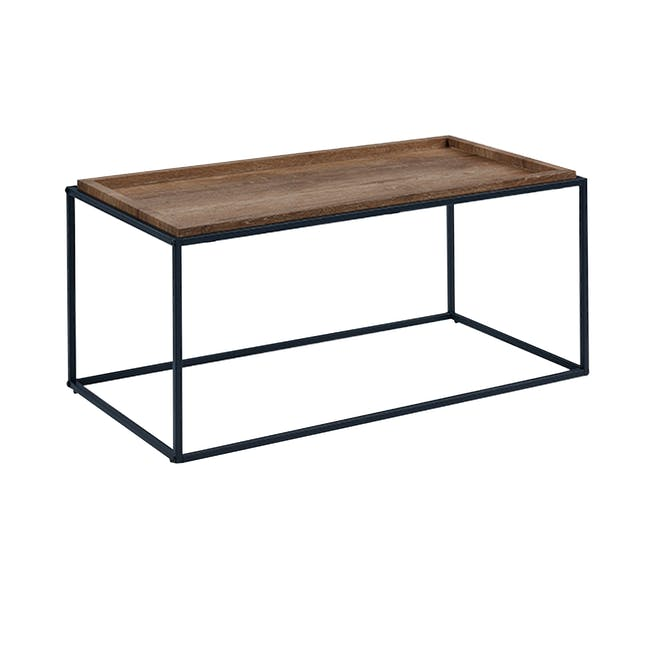 Dana Rectangle Coffee Table 1m and Dana Square Side Table - Walnut - 2