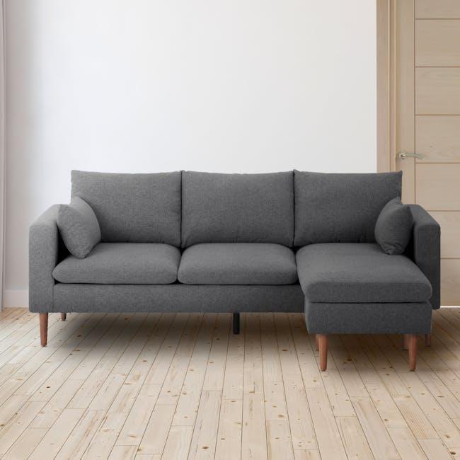 Alicia L-Shaped Sofa - Charcoal Grey - 1
