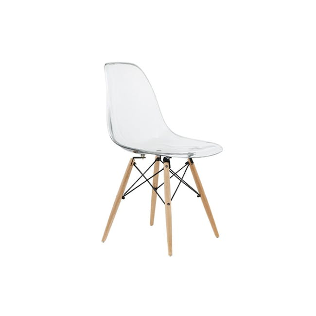 Jonah Extendable Table 0.8m in Oak with 2 DSW Chair Replica in Natural, Clear - 4