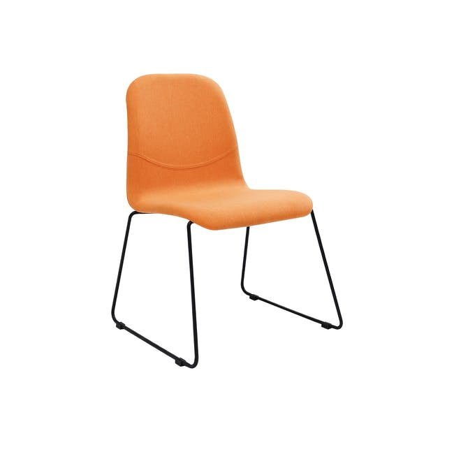 Ava Dining Chair - Matt Black, Tangerine - 0