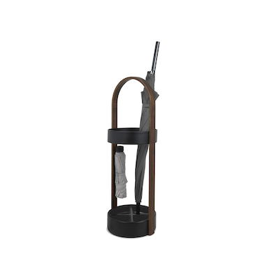 Hub Umbrella Stand - Black, Walnut - Image 1