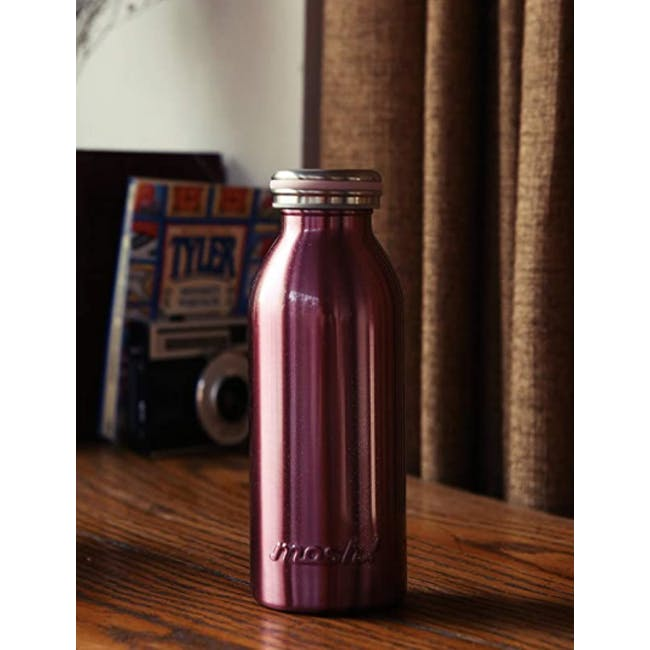 MOSH! Double-walled Stainless Steel Bottle 450ml -  Pearl Pink - 2