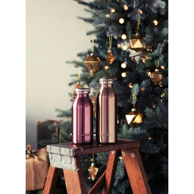 MOSH! Double-walled Stainless Steel Bottle 450ml -  Pearl Pink - 1