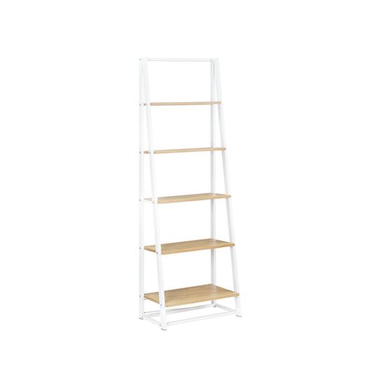 Glass and Metal - Luca Tall Shelf- White, Oak