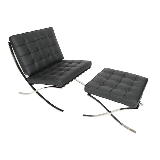 Barcelona Chair with Barcelona Ottoman - Black (Genuine Cowhide) - 21