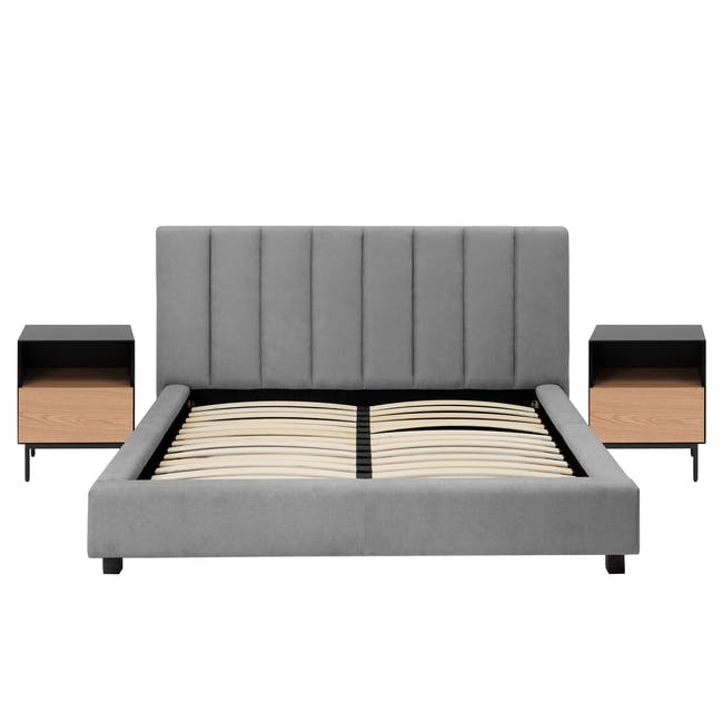 Elliot Queen Bed in Gray Owl with 2 Lewis Bedside Tables in Black, Ash Brown - 0