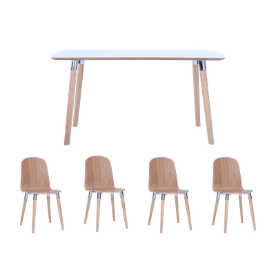 Jazz Dining Table 1.5m with 4 Vali Dining Chairs - Oak - Image 1