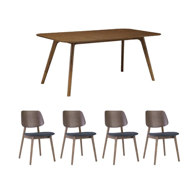 Roden Dining Table 1.8m in Cocoa and 4 Riley Dining Chairs in Dark Grey - 0