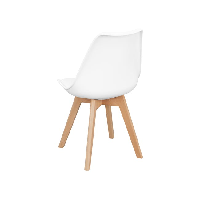 Harold Round Dining Table 1m in White with 4 Linnett Chairs in White - 10