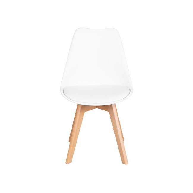 Harold Round Dining Table 1m in White with 4 Linnett Chairs in White - 12