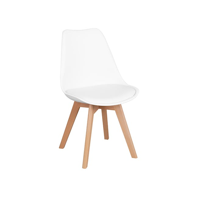 Harold Round Dining Table 1m in White with 4 Linnett Chairs in White - 9