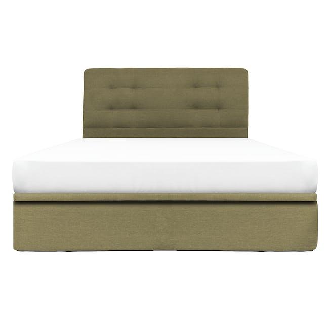 ESSENTIALS Queen Headboard Storage Bed - Khaki (Fabric) - 0