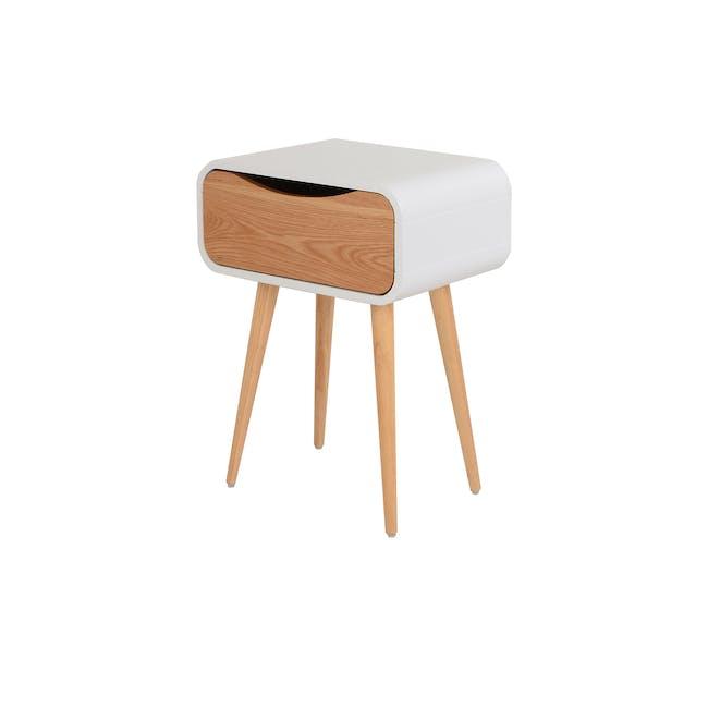 Albie Bedside Table - Oak, White - 0