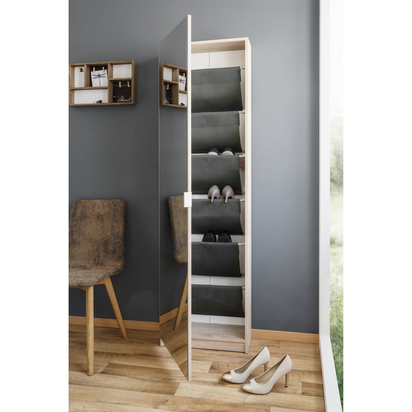 Tall shoe cabinet with mirror