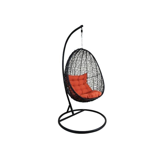 Black Cocoon Swing Chair with Orange Cushion - 0