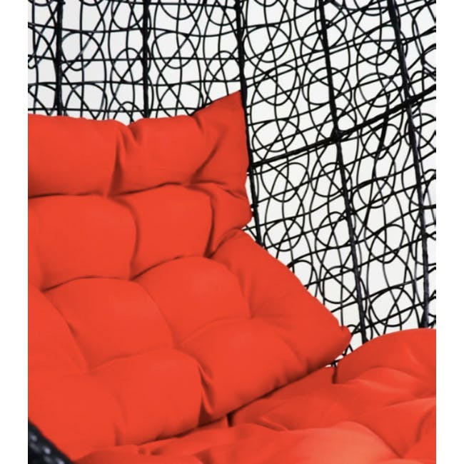 Black Cocoon Swing Chair with Orange Cushion - 2