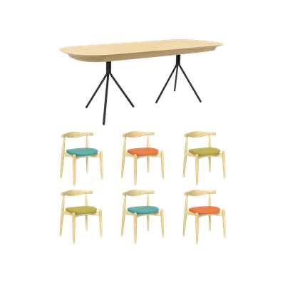 Otto Dining Table 2m with 6 Bouvier Dining Chairs - Image 1