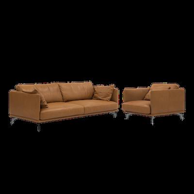 Como 3 Seater Sofa with Como 1.5 Seater Sofa - Tan (Premium Cowhide), Down Feathers - Image 1