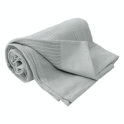 Leno Weave Cotton Throw - Glacier Grey