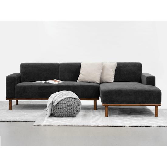 Cairo L-Shaped Sofa - Pewter Grey