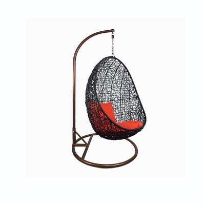 Black Cocoon Swing Chair with Orange Cushion - Image 1