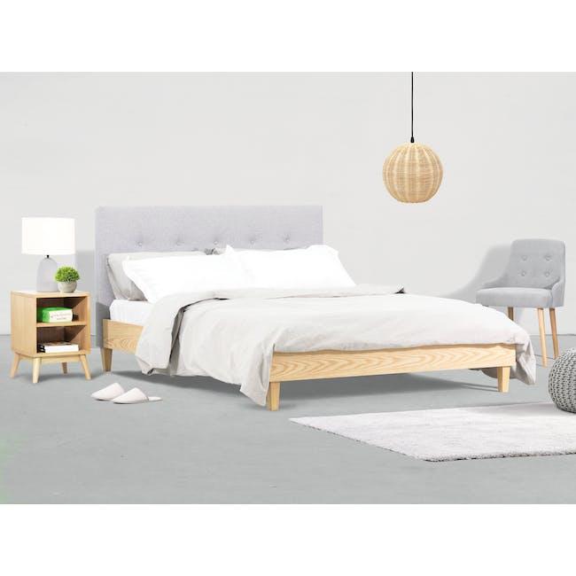 Landon King Bed with 2 Kyoto Bottom Drawer Bedside Table in Oak - 1