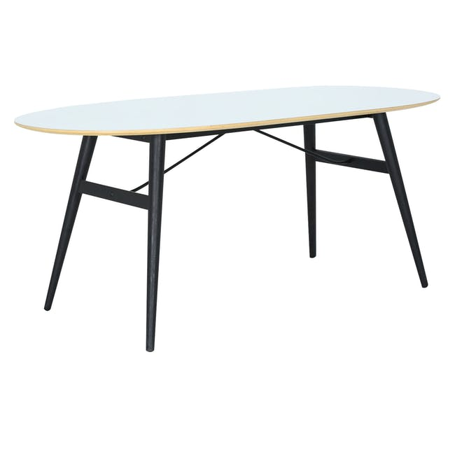 Fleming Oval Dining Table 1.8m - White, Black - 7