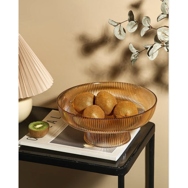 Reagan Glass Fruit/Display Bowl - Amber - Large - 1