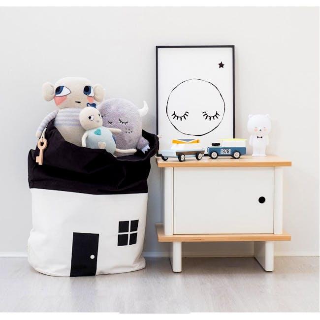 Little House Drawstring Storage Bag - White - 2