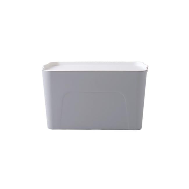 Clayton 8L Grey Storage Box with White Lid - 0