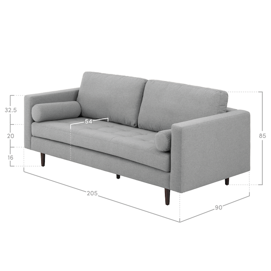 AK Avantgarde - Nolan 3 Seater Sofa - Slate (Fabric)
