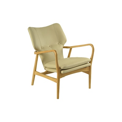 Uta Lounge Chair in Premium Vinyl - Cream, Oak - Image 1