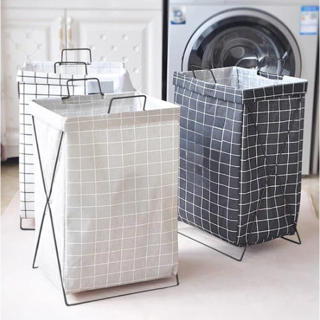 HOUZE Laundry Bag with Matt Steel Frame - White Checkered - 1
