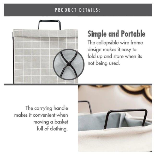 HOUZE Laundry Bag with Matt Steel Frame - White Checkered - 5
