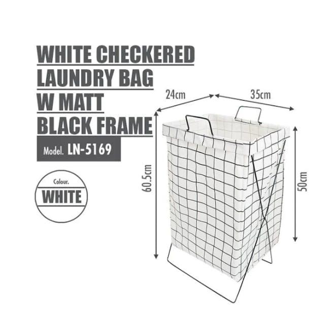 HOUZE Laundry Bag with Matt Steel Frame - White Checkered - 3