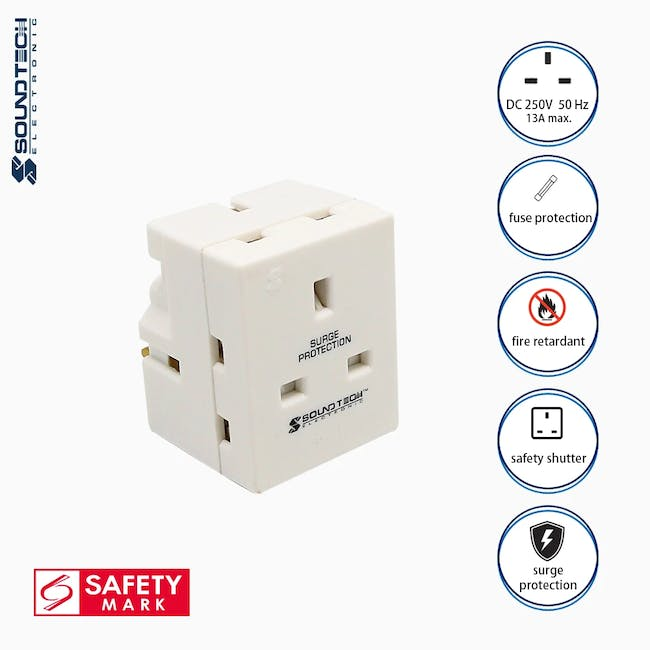 SOUNDTEOH Multiway Adaptor With Surge Protection - 0