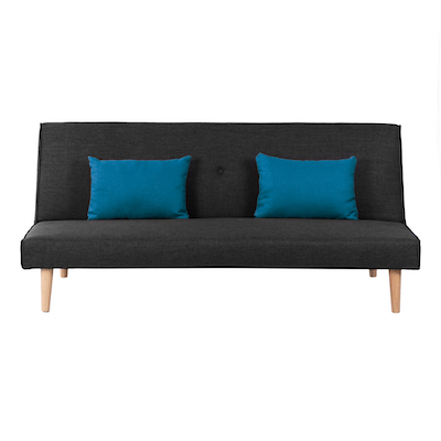 (As-is) Andre Sofa Bed - Anthracite with Blue Cushions - 3 - Image 1