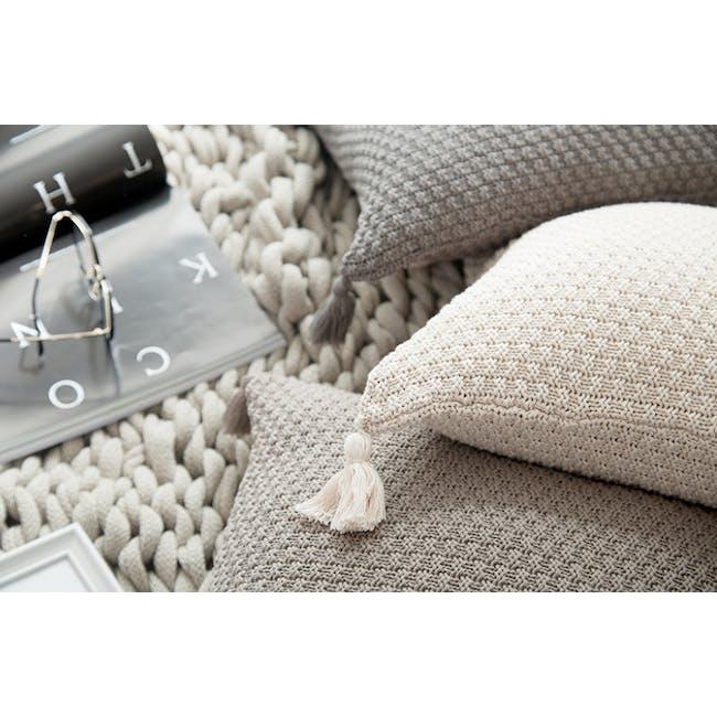 Laura Knitted Cushion Cover - Cream - 1