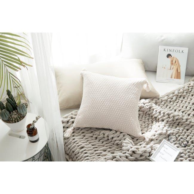 Laura Knitted Cushion Cover - Cream - 4