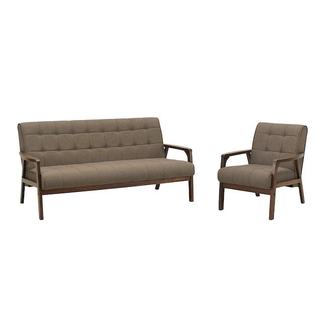 Tucson 3 Seater Sofa with Tucson Armchair - Chestnut (Fabric) - 0