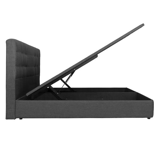 ESSENTIALS Super Single Headboard Storage Bed - Smoke (Fabric) - 4
